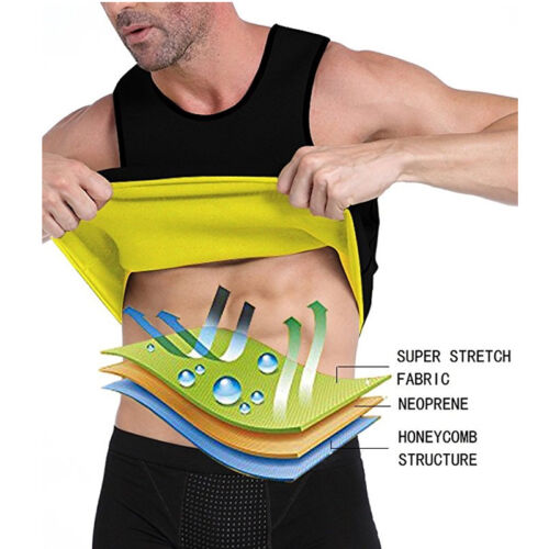 UK Unisex Waist Trainer Vest Sauna Sweat Body Shaper Tank Slimming Trimmer Shirt