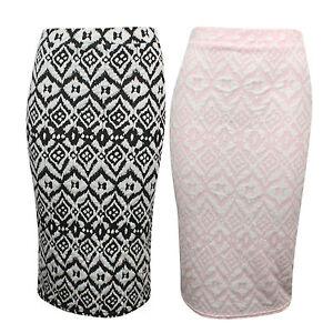 Ehrlich Womens High Elasticated Waistband Black Embossed Pencil Print Bodycon Midi Skirt Kunden Zuerst Röcke