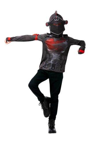Enfant Officiel Fortnite chevalier noir top Snood Fancy Dress Costume Halloween UK