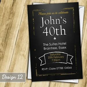Image is loading Chalkboard-30th-40th-50th-60th-Invitations-Personalised- Birthday-