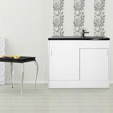 respekta Meuble-lavabo Meuble-lavabo Évier complet Evier Inox 100x60 cm blanc