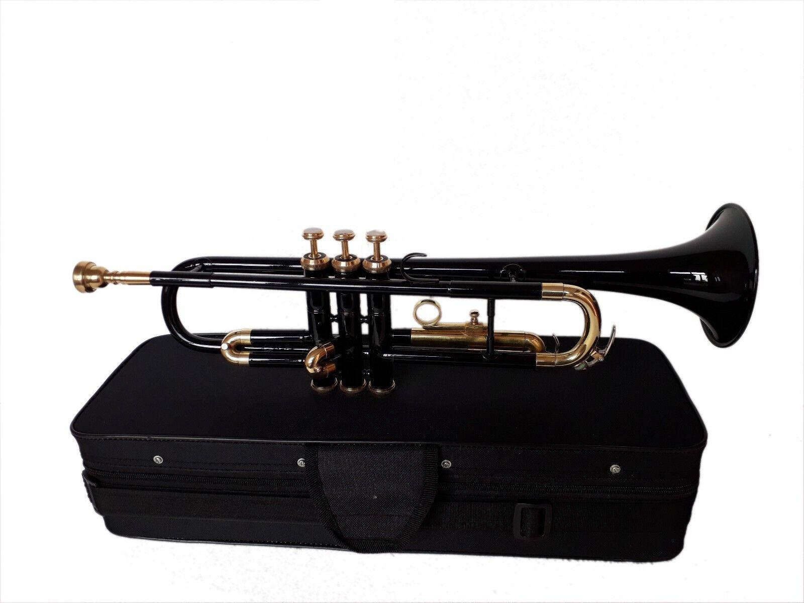 Brand New schwarz Brass Bb FLAT Trompete Free Case Mundstück EQUISITE OSWAL