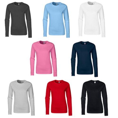 3-Pack Gildan Ladies SoftStyle® 100/% ringspun cotton.* Long Sleeves Top T-Shirt