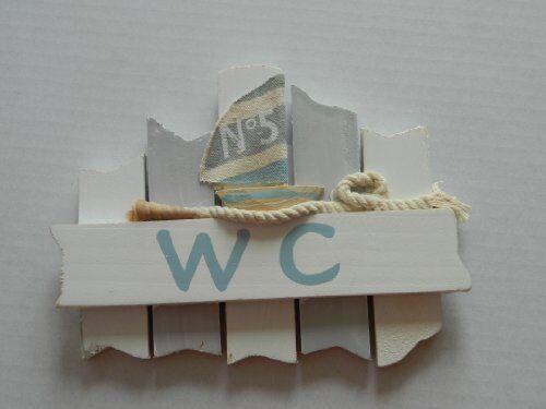 Bord de mer en bois WC signe pour Salle de Bain Toilette Porte Nautique Plage