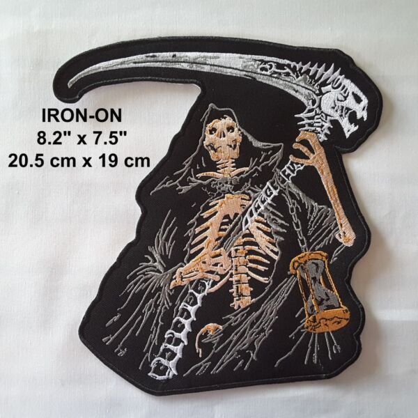 2dcfbbb1b XL Skull Embroidered Iron-on Skeleton 8  Emblem Halloween Patch Gothic  Applique