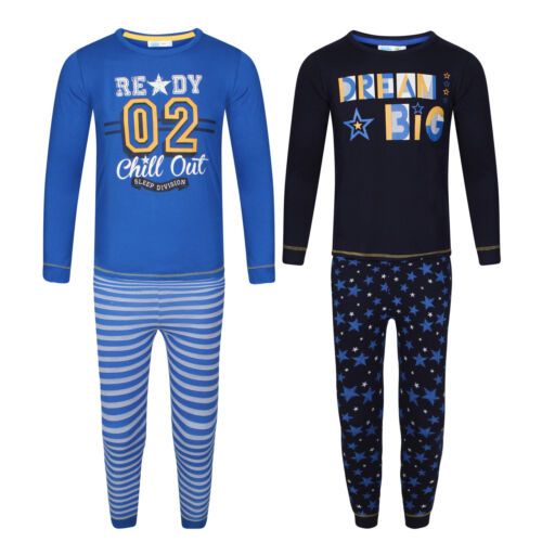 Blue and Navy Ages 3-4 /& 5-6. Pack of 2 Boys Long Sleeved Cotton Pyjama Sets