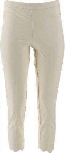 Isaac Mizrahi Petite 24//7 Stretch Crop Pants Scallop Hem Cream 10P NEW A308000