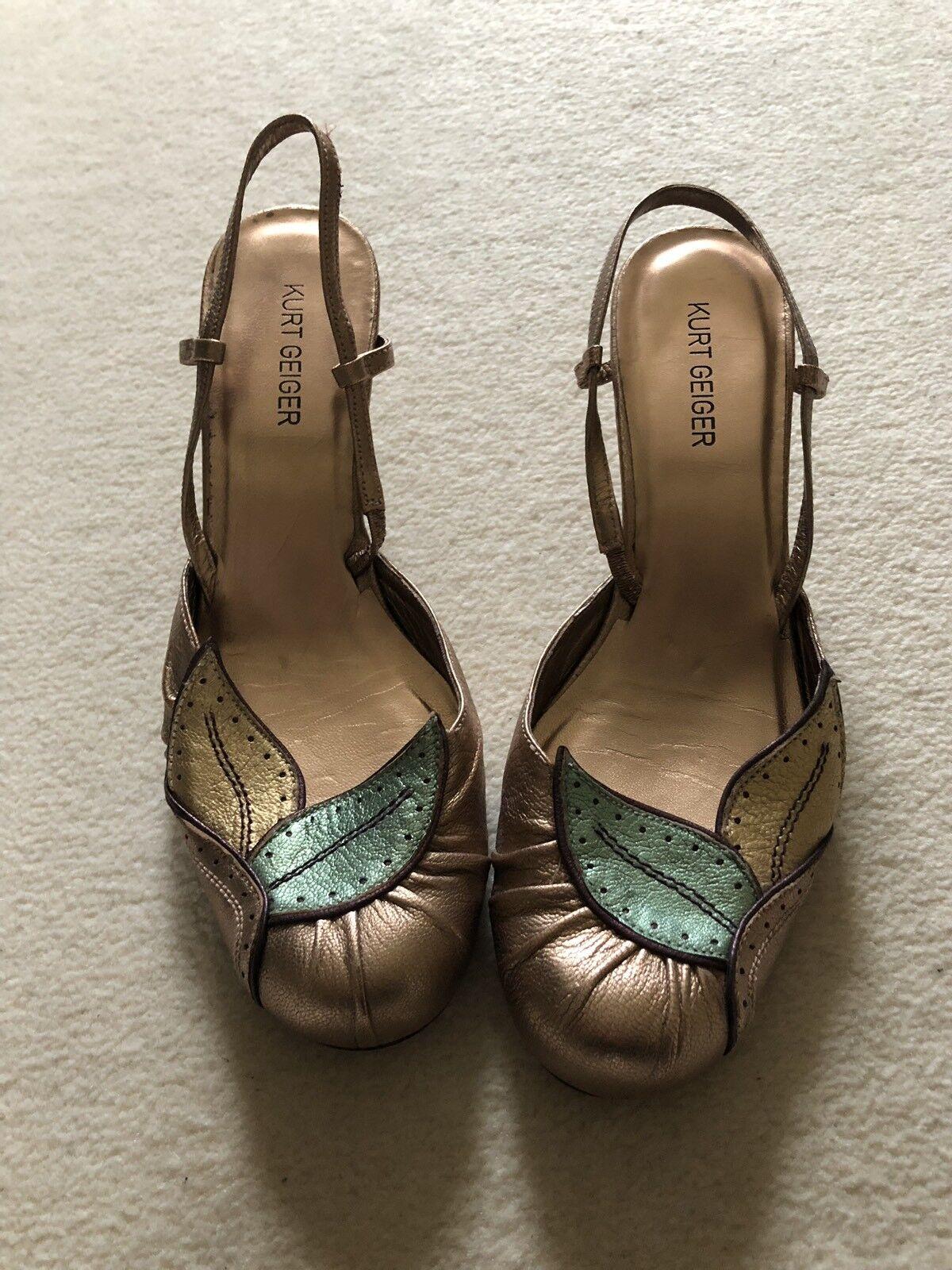 Zapatos de fiesta oro rosado de Navidad con poco Gatito Gatito Gatito Talón. Kurt Geiger. 37 4 388377