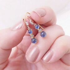 18ct gold cabochon sapphire rose cut diamond earrings,