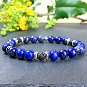Bracelet-Homme-Femme-Perles-Naturelle-Lapis-Lazuli-Lave-Tibet-Tailles-au-choix