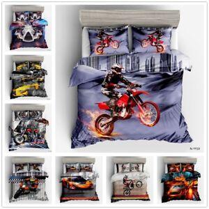 3D Motor Racing Cars Quilt Cover Motorbike Bedding Set Duvet Cover Pillowcases