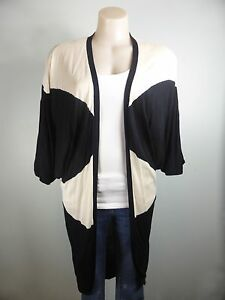 DANII-MINOGUE-Petites-Black-white-long-length-Shrug-Jumper-Cardigan-sz-6-8
