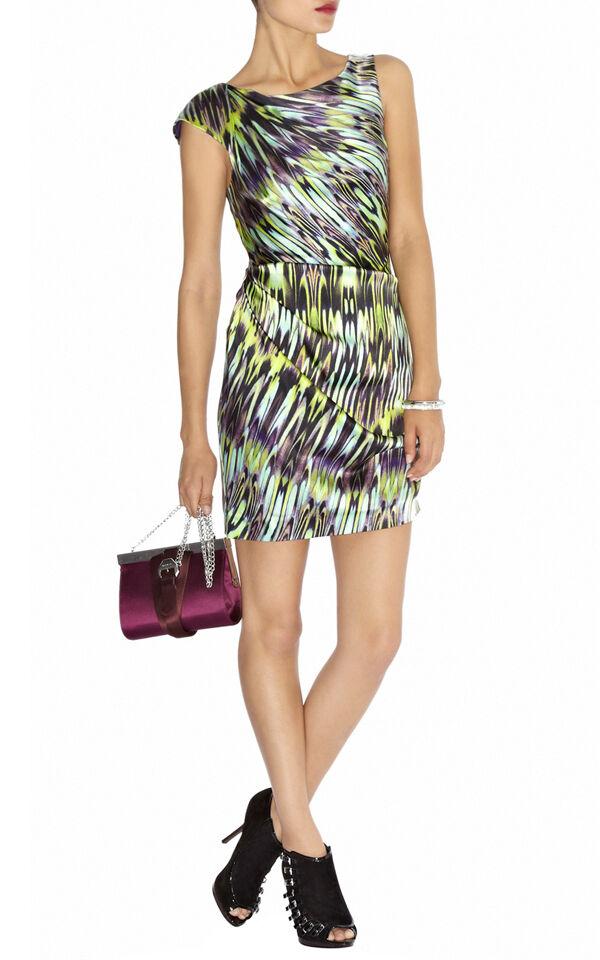 KAREN MILLEN Green Purple White Stretch Silk Ruched Draped Marble Print Dress 6