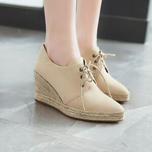 0d97f652dca Image is loading Ladies-Casual-Wedge-Heels-Pointed-Toe-Espadrille-Lace-
