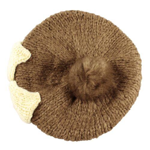 Bow Faux Rabbit Fur Pom Pom Knit Handmade Beanie Beret Warm Winter Ski Hat Women