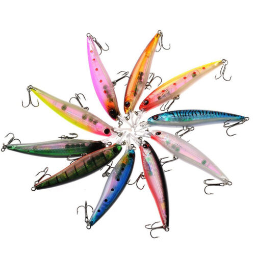 10PCS//Lot Fishing Lures Laser Minnow Bass Sea Fishing Bait with Triple Hook