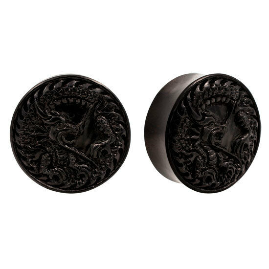 PAIR ORGANIC Dragon Carved Areng Wood Double Flared Flesh Tunnels Ear Plugs Rare