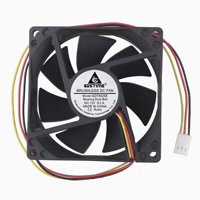 2 Pcs Ball Bearing 3Pin 12V 8cm 80mm 25mm 80x80x25mm Computer Case Cooling Fan