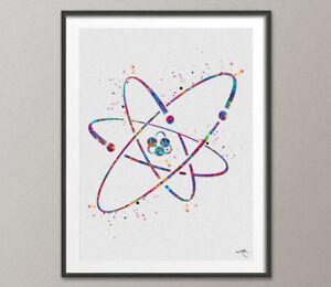 Atom Symbol Watercolor Print Wall Art Atomic Nuclear Atom Laboratory Science Art