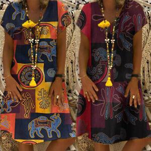 Vintage-Femme-Casual-Manche-Courte-Imprimee-Coloree-Ample-Party-Robe-Dresse-Plus
