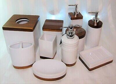 Royal Hotel White Ceramic Porcelain Bamboo Teak Wood Bath Accessories U Pick Ebay