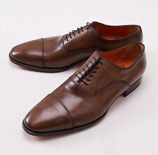 NIB $960 SANTONI Fatte a Mano Antiqued Light Brown Captoe Balmoral US 12 D Shoes