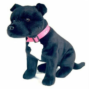 *NEW BOCCHETTA - DJ SITTING BLACK STAFFY STAFFORDSHIRE BULL TERRIER DOG TOY 38CM