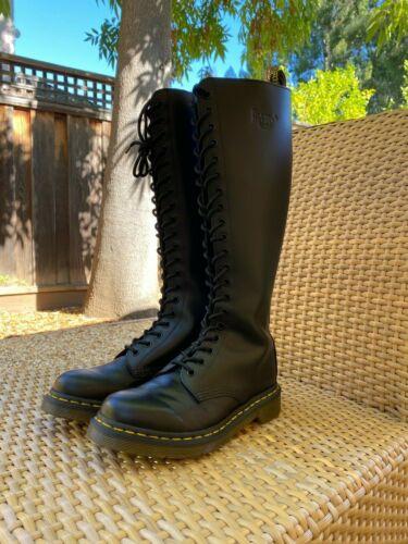 Dr Doc Martens Women's Black Leather 20 Eye Knee H