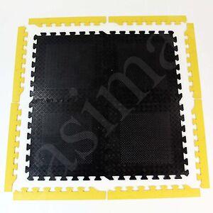 Yellow safety edges for rubber interlocking gym garage mats heavy