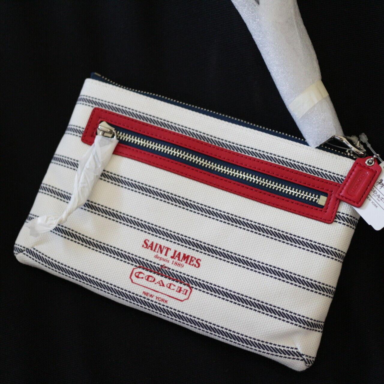 NWT COACH SAINT JAMES Collection Nautical Stripe Wristlet Clutch Wallet NEW
