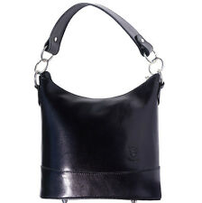 Shoulder Bag Italian Genuine Leather Hand made in Italy Florence 8687 bk