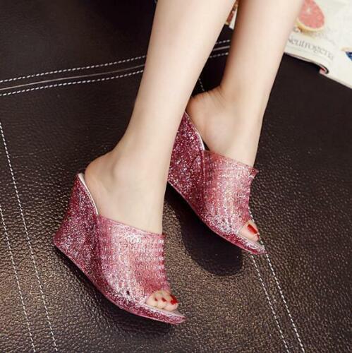 Womens Clear Casual Wedge Heel Sliper sandal Open Toe Summer Shoe Slingback Top