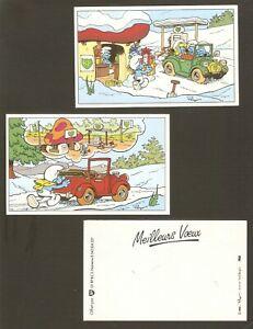 Peyo lot of 2 cards vows pub bp x vintage 1985 smurfs-very rare