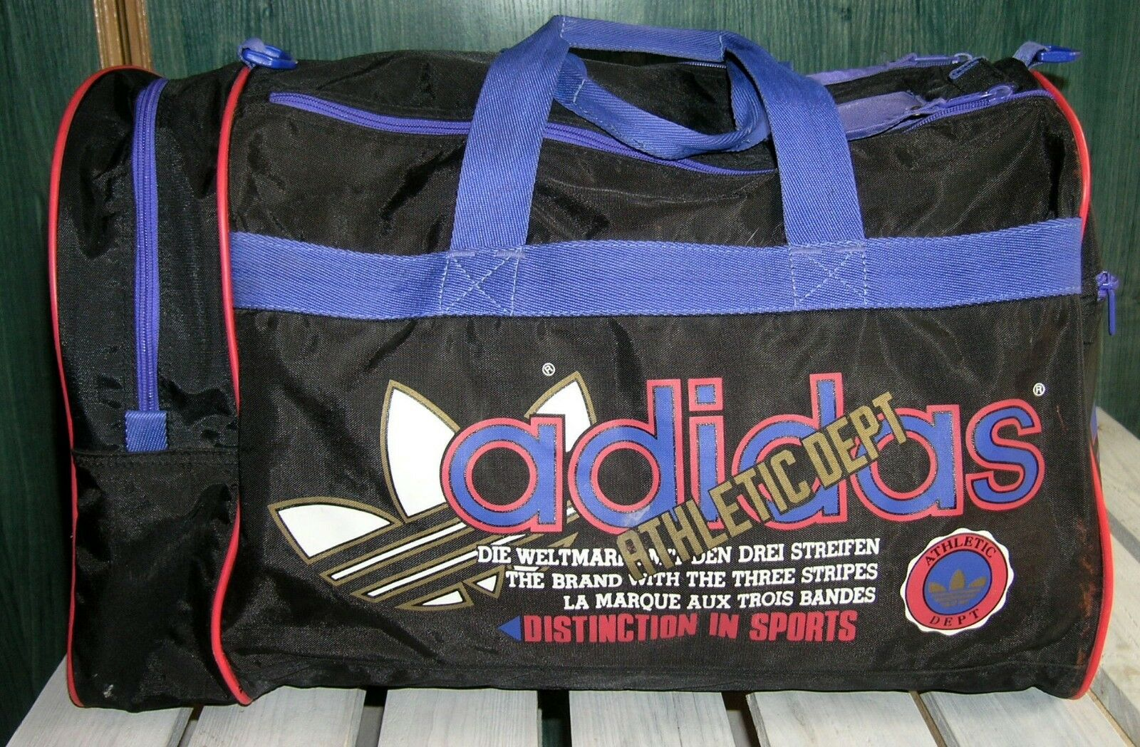 RARE Vintage Sports Bag Adidas Athletic  Dept Duffle Bag Trefoil Gym Travel  online retailers