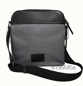 c821dfd1b7 Details about NWT COACH F37609 Men's Crossbody Nylon Leather Messenger Bag  Black/Heather Grey