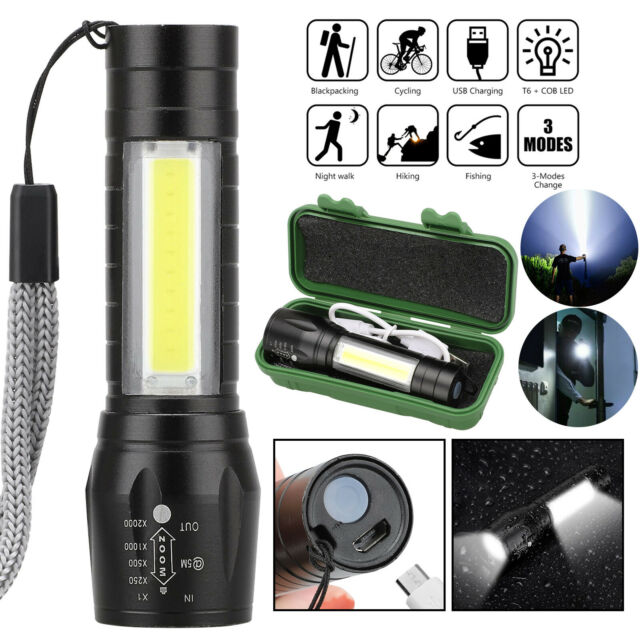 Portable T6 COB LED USB Rechargeable Zoomable Flashlight Torch Lamp Light 3-Mode