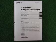 SONY BEDIENUNGSANLEITUNG CDX-MP40 FM/MW/LW COMPACT DISC PLAYER DE GB u.a.  25372