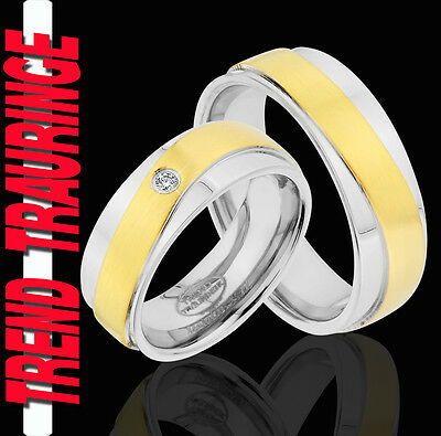 Dynamisch 2 Ringe Eheringe Trauringe Verlobungsringe Gold Platiert Gravur Gratis Te90-1