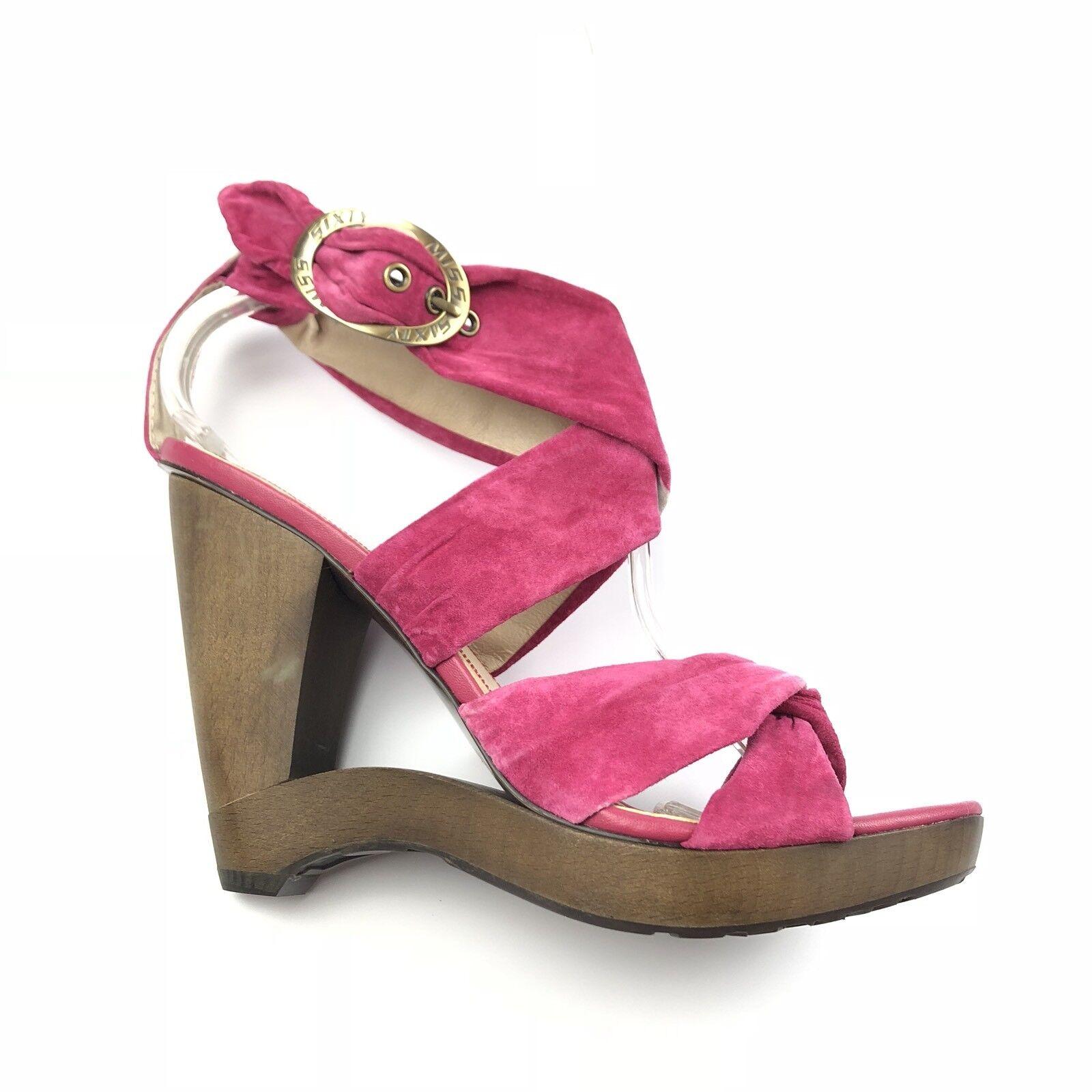 Miss Sixty Yolanda Pink Tie Dye Suede Leather Platform Wood Wedge Sandals 39.5