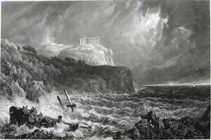 Greece Cape Sounion POSEIDON TEMPLE RUINS STORMY SEAS ~ 1829 Art Print Engraving