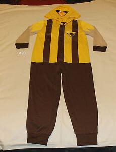 Youth Pjs 8-14 AFL Official Hawthorn Hawks Winter Long Pyjamas Set