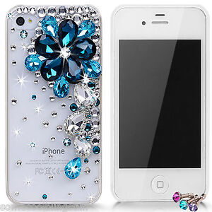 BLING-DELUX-BLUE-CLEAR-FLOWER-DELUX-DIAMANTE-CASE-COVER-IPHONE-7-6-6s-5c-5s-X-XS