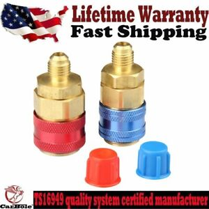 "2 A/C R134A Quick Connector Adapter Coupler Manifold Gauge L/H HVAC 1/4"" hose US"