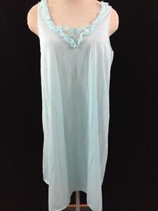 VINTAGE-Lorraine-nightgown-sleeveless-size-M-medium-blue-lace-nylon