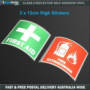 REFLECTIVE-Fire-Extinguisher-amp-First-Aid-sticker-OH-amp-S-Safety-Decals-F020