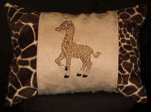 New-Embroidered-Cute-Baby-African-Giraffe-Pillow-12-x-16-in-insert