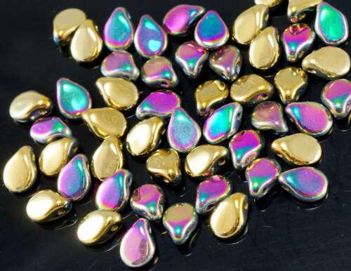 60pcs California Green Purple Gold PIP Beads Czech Glass PRECIOSA Pressed Beads