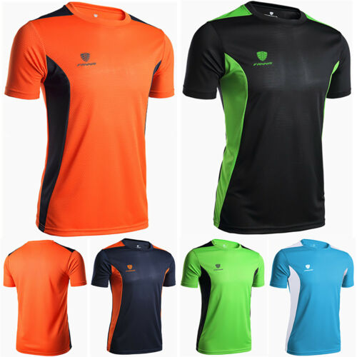 Mens Breathable Shirt Wicking Cool Running Gym Tops Active Sports Performance