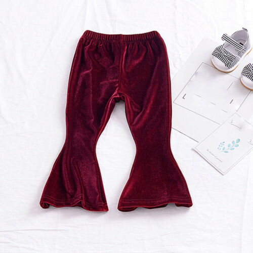 Toddler Children Trousers Baby Girls Solid Velour Flare Pants Leggings