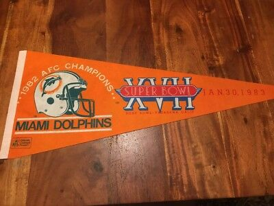 Vintage Miami Dolphins 1982 AFC Champions Pennant Super Bowl XVII 1983
